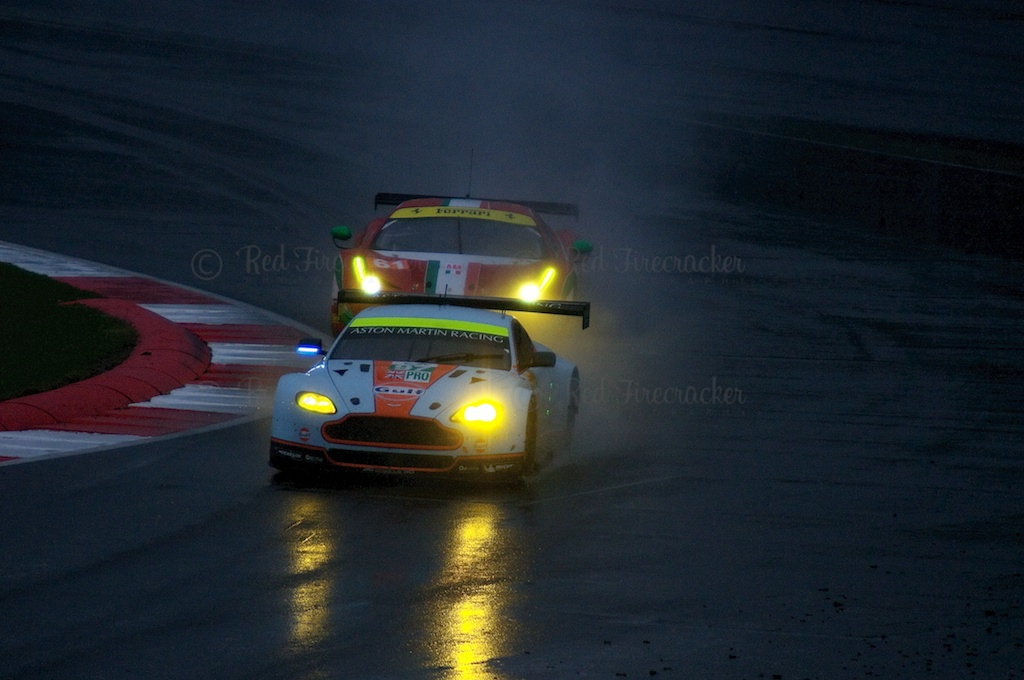No 97 Aston Martin Racing Vantage V8, No 61 AF Corse Ferrari 458, FIA WEC Silverstone